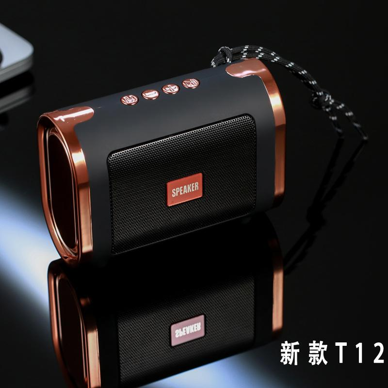 T12 Bluetooth Wireless Speaker Outdoor Portable Speakers with USB TF Card MP3 Music Player FM Radio Mic Handsfree Plating Soundbox