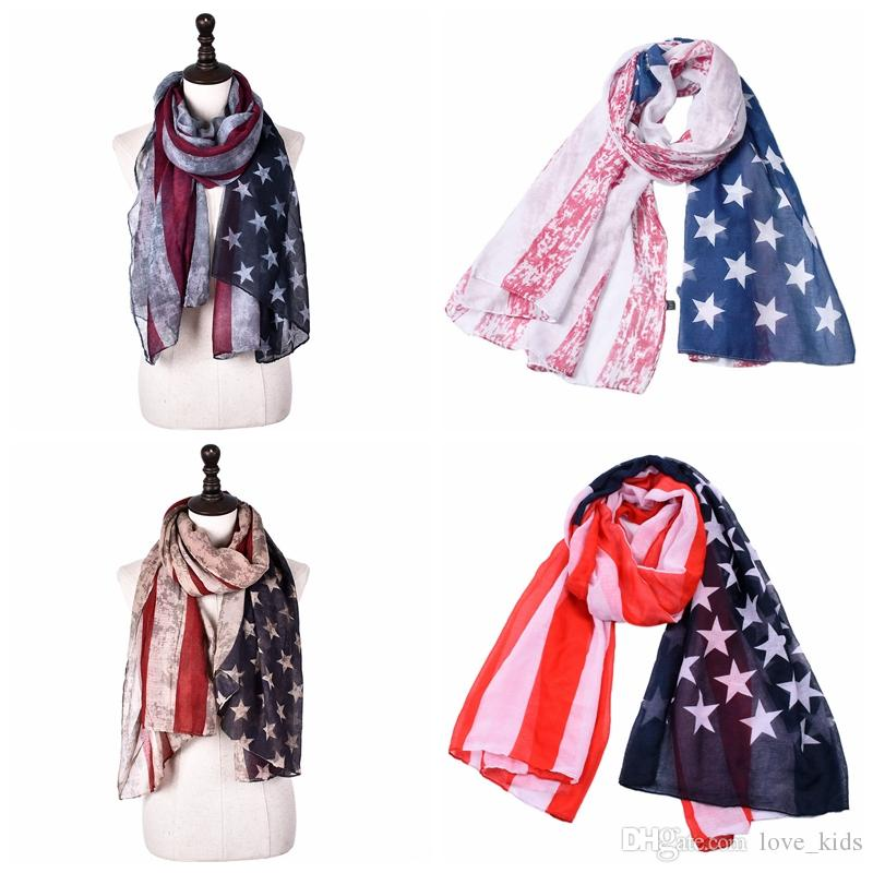 1ec09cc8b3c7a 2019 Vintage Patriotic USA American Flag Theme Scarf Scarves Wrap Long US  Ship Gift Fashion Accessories From Love_kids, $2.85 | DHgate.Com