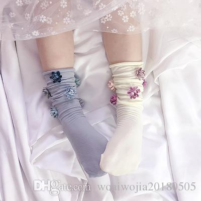 20190328 Handmade Girl Flower Pile Socks Pure Baby Socks Stereo Flower  Princess Socks