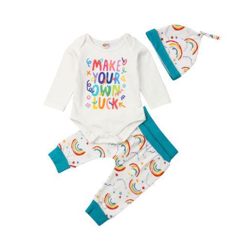 e849752be2e 2019 Toddler Baby Boy Girls Rainbow Set Autumn Infant Cotton Romper  Bodysuit Jumpsuit Pants Hats Outfit From Coolhi