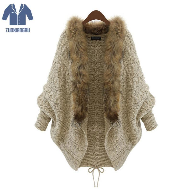 2bc1adf1b6af8 2019 New Women Early Spring Knitted Sweaters Knit Faux Fur Trimmed Cardigan  Turn Down Collar Thick Style Open Women Sweaters From Wulana