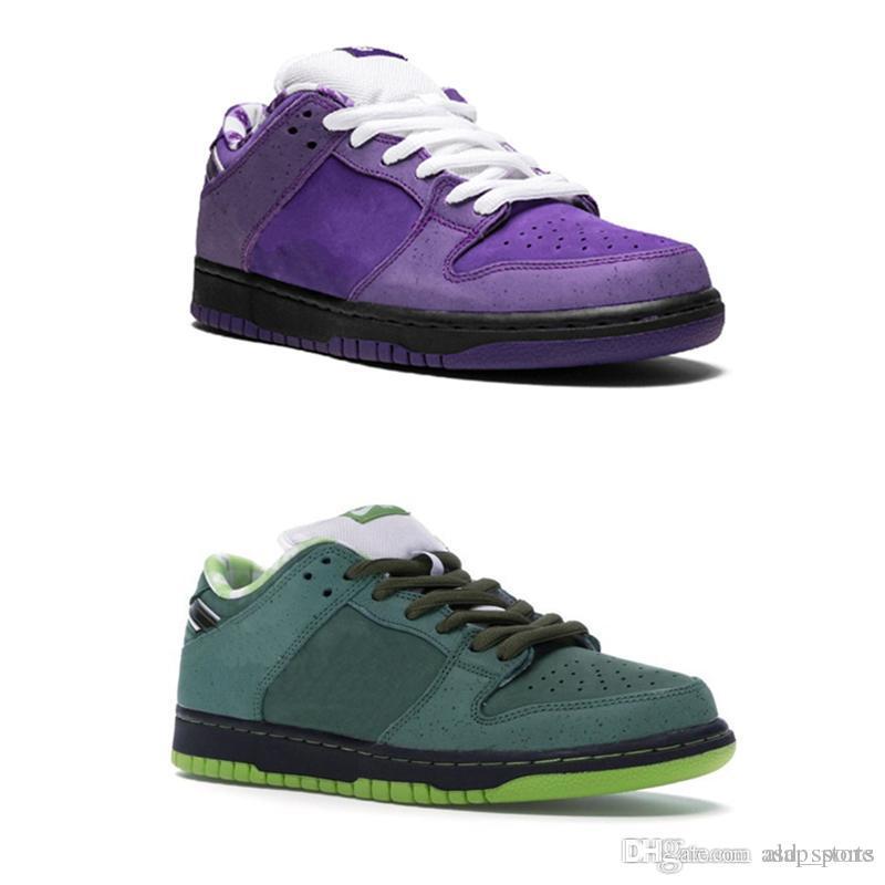 sports shoes c2e85 5e660 Compre 2019 Nuevos Conceptos Lanzados X SB Dunk Bajo Púrpura Y Verde Corte  De Langosta Zapatillas Para Correr Hombres Mujeres Deportes Zapatillas De  Deporte ...