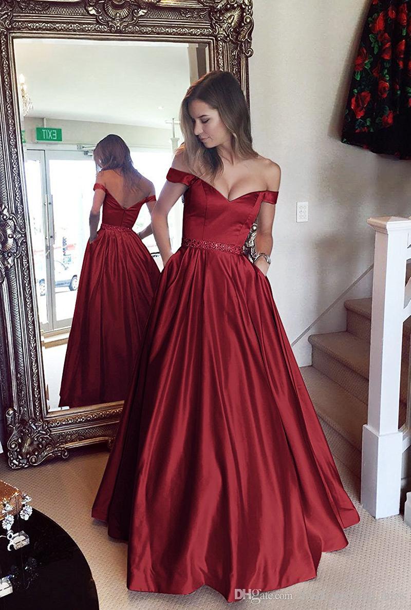 4123239292e Elegantes vestidos de bola de vino rojo Vestidos de fiesta Hombro con  cuentas Fajín de cristal Longitud del piso de satén Vestidos de noche sin  ...