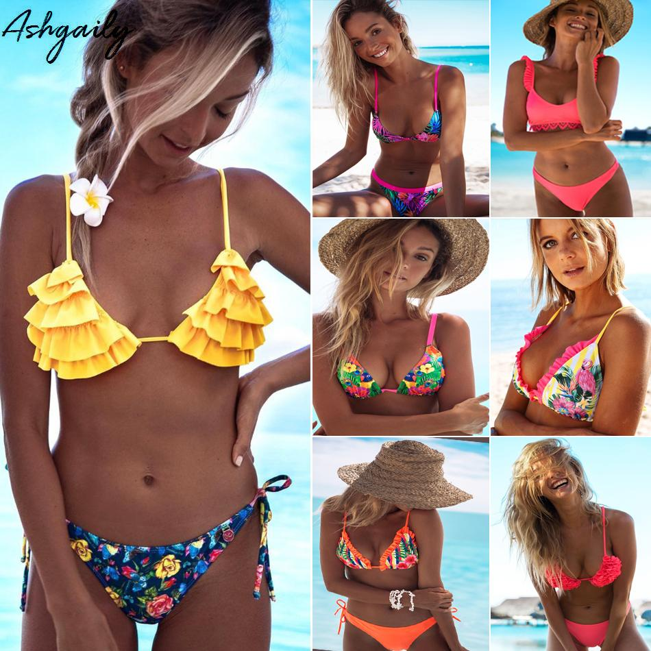 Sexy Bikini Swimwear Women Halter Push Up Bikini Set Swimsuit Female Floral Print Bandage Biquini Bathing Suit