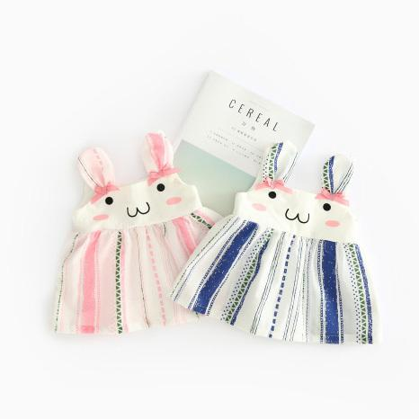 Girls summer strap dresses kids cartoon rabbit style cute dress baby pink blue casual princess party clothes children 6-36 month