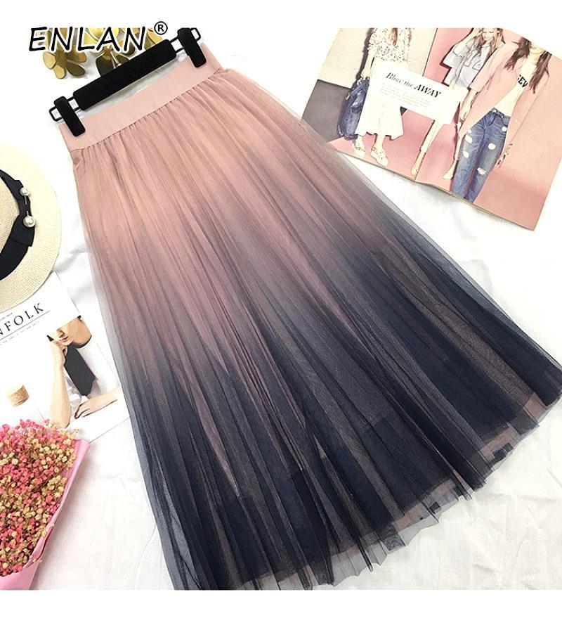 95e99dbcc Falda larga de tul mujer 2019 gradiente de primavera y verano coreano  elegante de cintura alta una línea plisada falda midi escolar femenina
