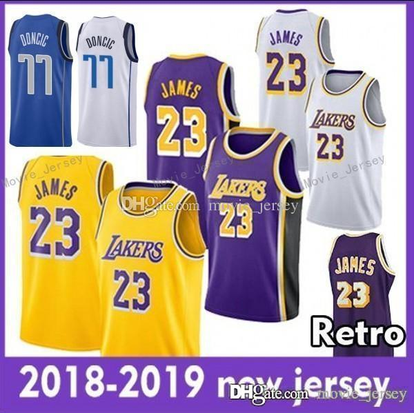 c490ed49da9 2018 2019 New Season 23 James Los Angeles Jersey Hot Men Youth Kids 77 Luka  LeBron Doncic James 18 19 The City Basketball Jersey UK 2019 From  Movie jersey