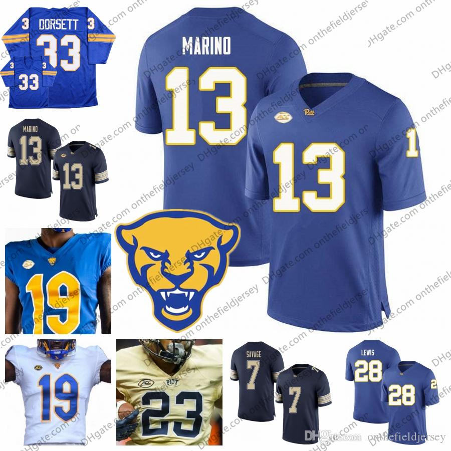 online store f8796 6a605 2019 Pittsburgh Panthers New Branding Football Jersey #13 Dan Marino 87  Rickey Jackson 23 Tyler Boyd 7 Tom Savage 28 Dion Lewis S-3XL