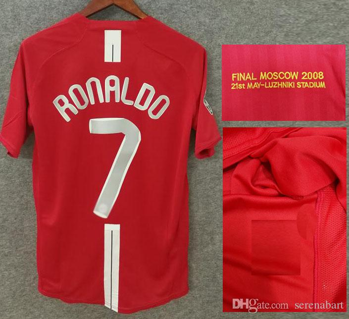 promo code 41f75 b4b98 2007-2008 Final MOSCOW Ronaldo Jersey Classic Retro Shorts and Long Shirts  Giggs Rooney Carrick Football Shirts With Wash Tag Soccer Jerseys