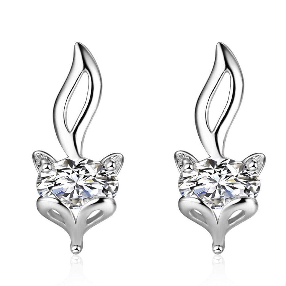 b51865826854d Silver Stud Earrings Cute Fox Gold Plated Silver Earring Girls Cuff Ear  Jewelry Gift Screw Back Wholesale Fox Earrings