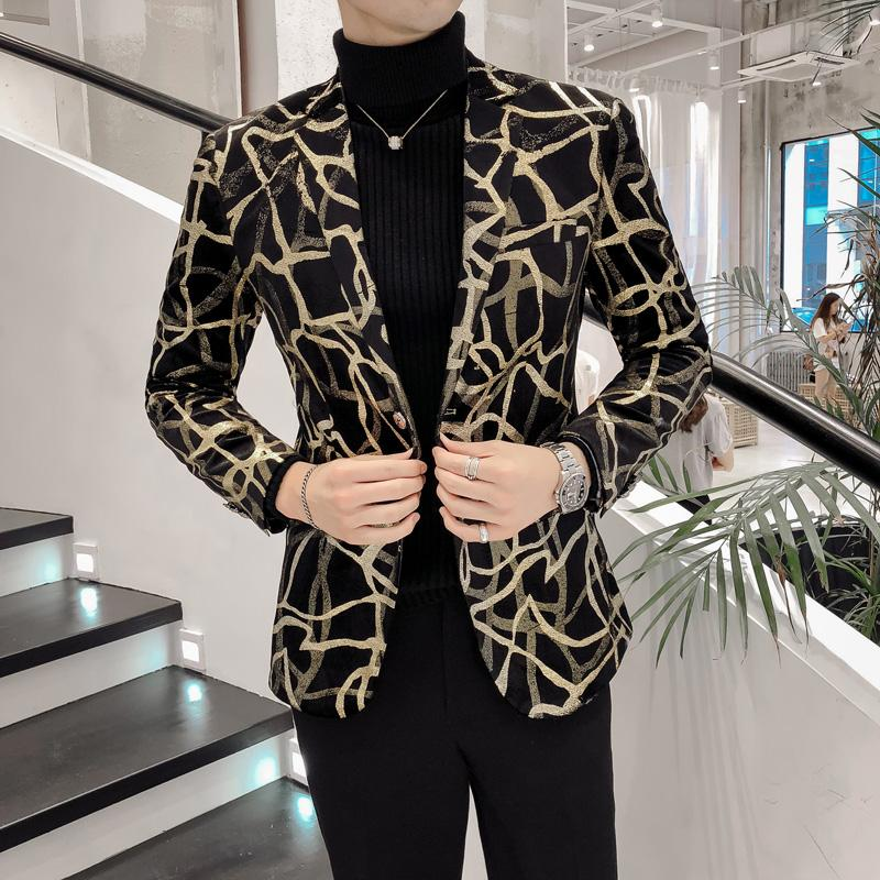 Velvet Blazer Male British Style Single Breasted Personality Pattern Wedding Mens Blazer Fashion Slim Fit And Jackets Men