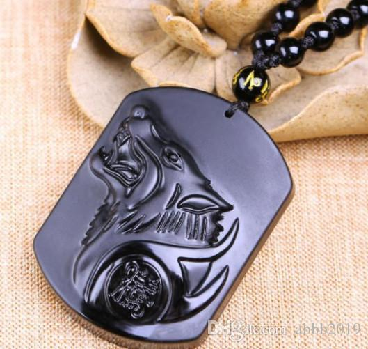 Fashion Black Dragon Wolf Pendant Natural Hand-carved Obsidian Necklace Fine Jade Statues Jewelry For Women Men Free Rope
