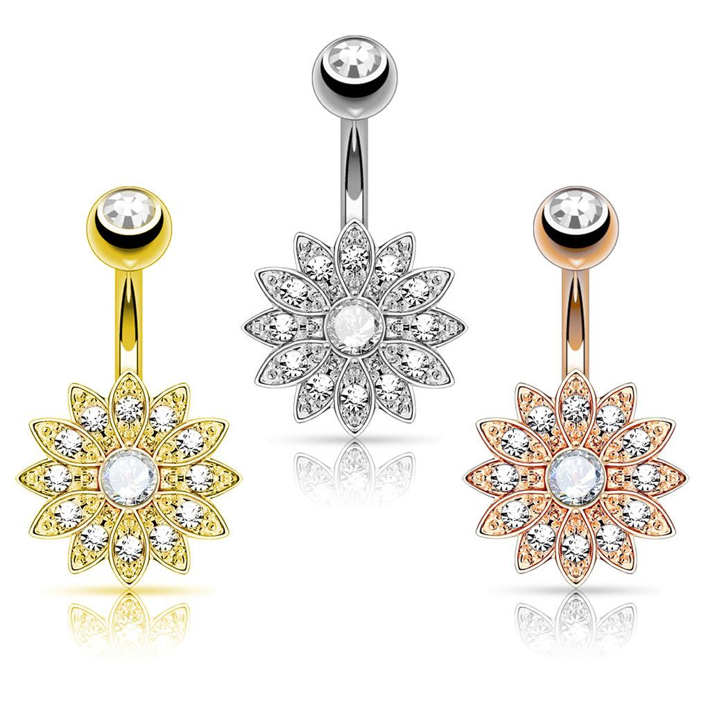 Cute Color Flower Zircon Crystal Body Jewelry Stainless Steel Rhinestone Navel & Bell Button Piercing Rings for Women Gift 2019 New