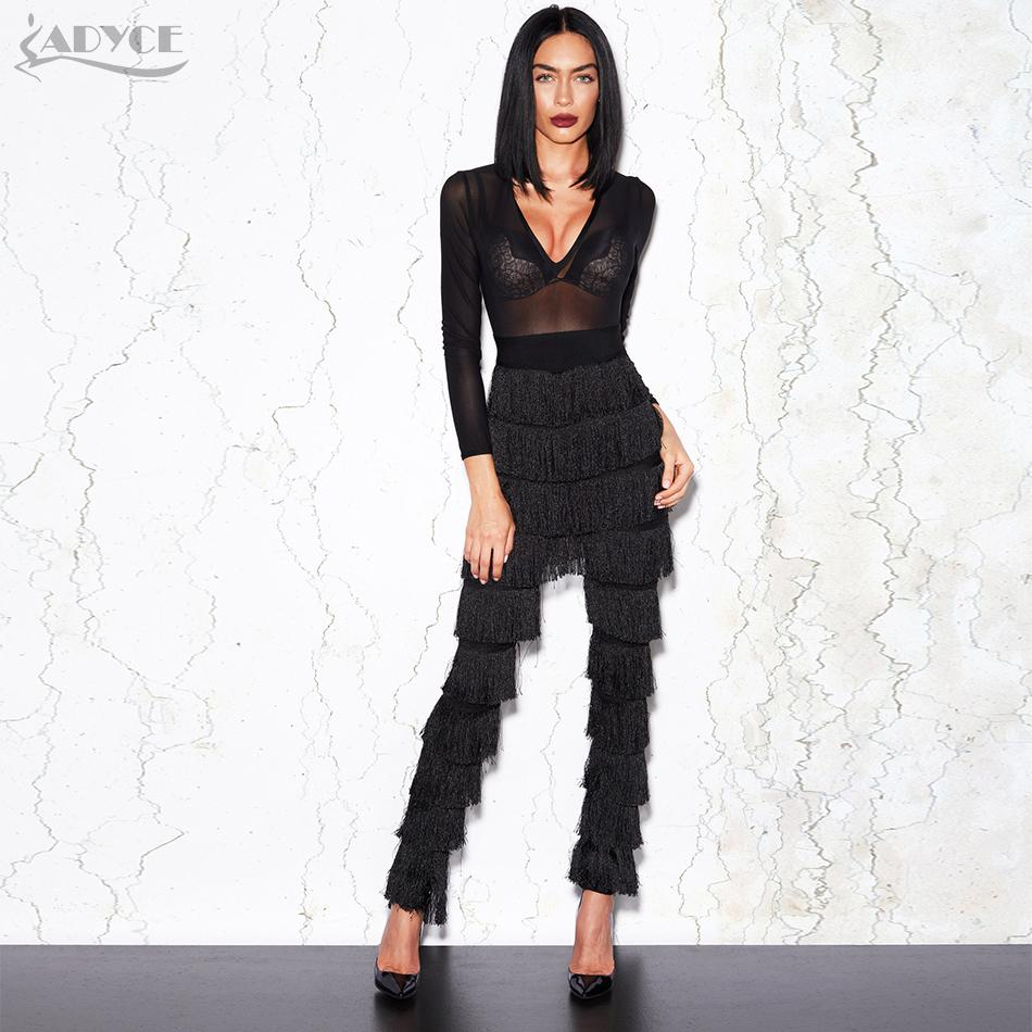 8a71763884fd Adyce 2018 High Quality Spring Jumpsuits Women Sexy Deep V Neck Bodysuit Long  Sleeve Mesh Tassels Celebrity Party Long Jumpsuit Graduation Dresses Black  ...