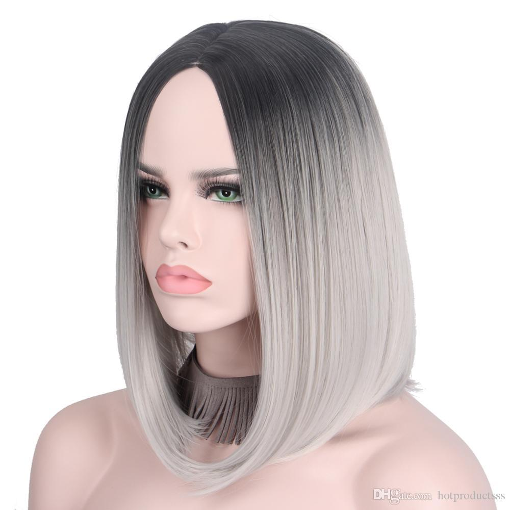 Fashion Cheap Short Gray Wig Silver Hairs Ombre Cosplay Wigs For Women  Short Bob Wig No Bangs Middle Part Shoulder Length Not Cosplay Costumes  Anime ... ef022a026