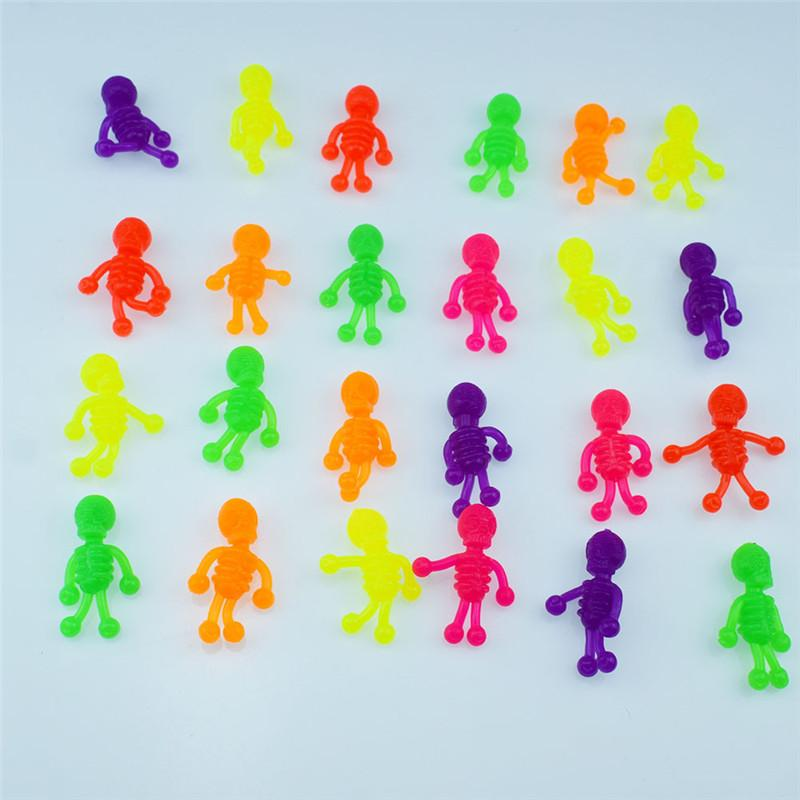 Children Funny Toy Multicolor TPR Skeleton figures 4x3cm Mini Decompression Toy Capsule skull Figures Toys Kids Gifts Promotional gifts