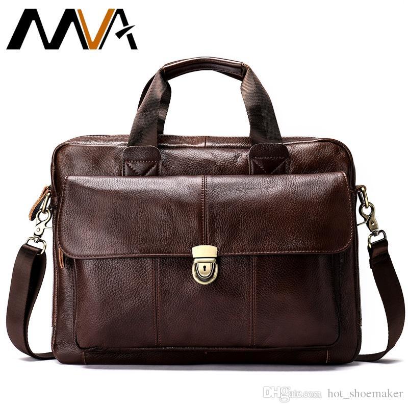 450bb1b72ab2 2019 Business Mens Genuine Leather Bag 14 Laptop Tote Briefcases for Men  Crossbody Shoulder Handbag Male Messenger Bag Men 315 #614876