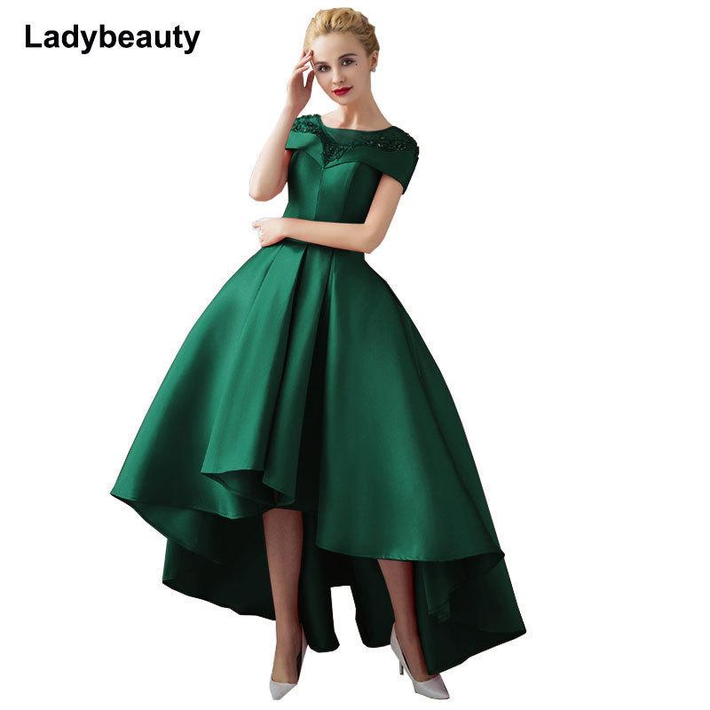 65d8c90c07 Asymmetrical Ball Gown Evening Dresses Plus Size 2018 Luxury Prom Formal  Dress Short Sleeve Formal Evening Gown Robe De Soiree Y19042701