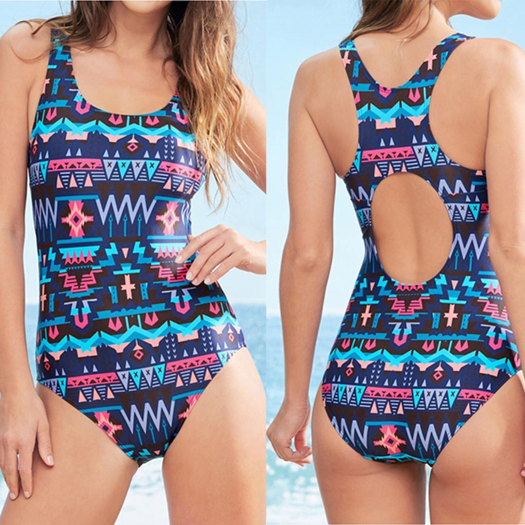 2019 nova impressão sexy one piece swimsuit mulheres swimwear oco-out terno de natação monokini feminino verão beachwear