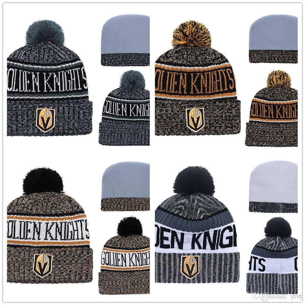 98800235ab7 2019 Wholesale Mens Ice Hockey 2018 New Winter Warm Hats Pom Beanies Vegas  Golden Knights Sideline Cold Weather Color Rush Sport Cuffed Knit Hats From  ...