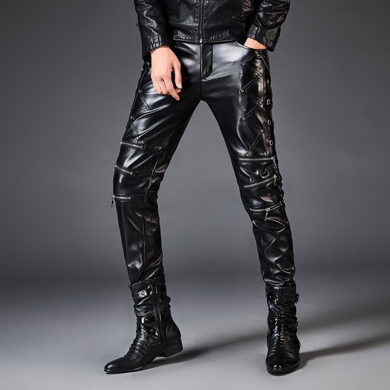 Moto Rock En Fashion Punk De Mince Pu Hommes Pantalon Male Cuir Pantalons Zipper Casual Boot Style Pour CodxBe
