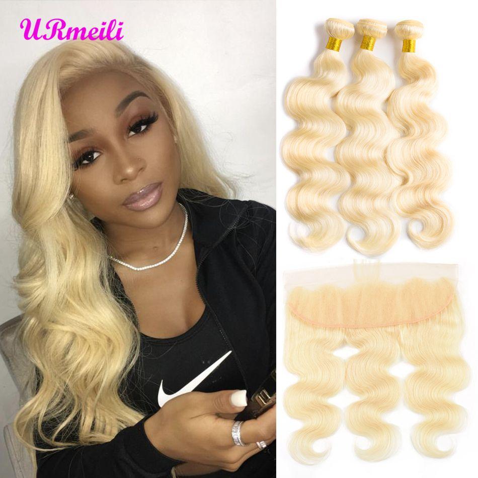 Straight Brazilian 613 Honey Blonde Hair Bundles With Frontal Remy Human Hair Weave 3 Bundles Deals With 13*4 Lace Closure Human Hair Weaves Hair Extensions & Wigs