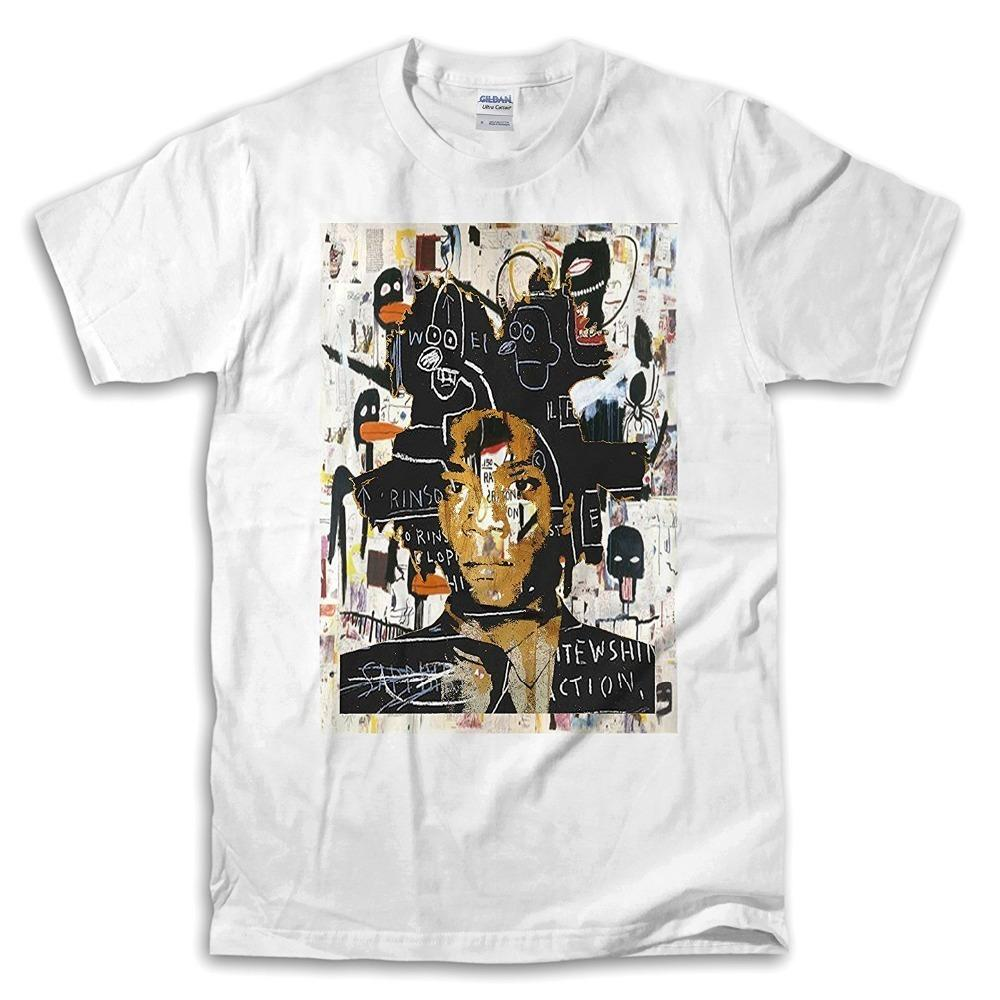 c67bfc89 Male Slim Fit T Shirt Casual Jean Michel Basquiat Self Portrait White Crew  Neck Short Sleeve Mens T Shirts Funny Tee Shirt Buy T Shirt Designs From  Guobao01 ...