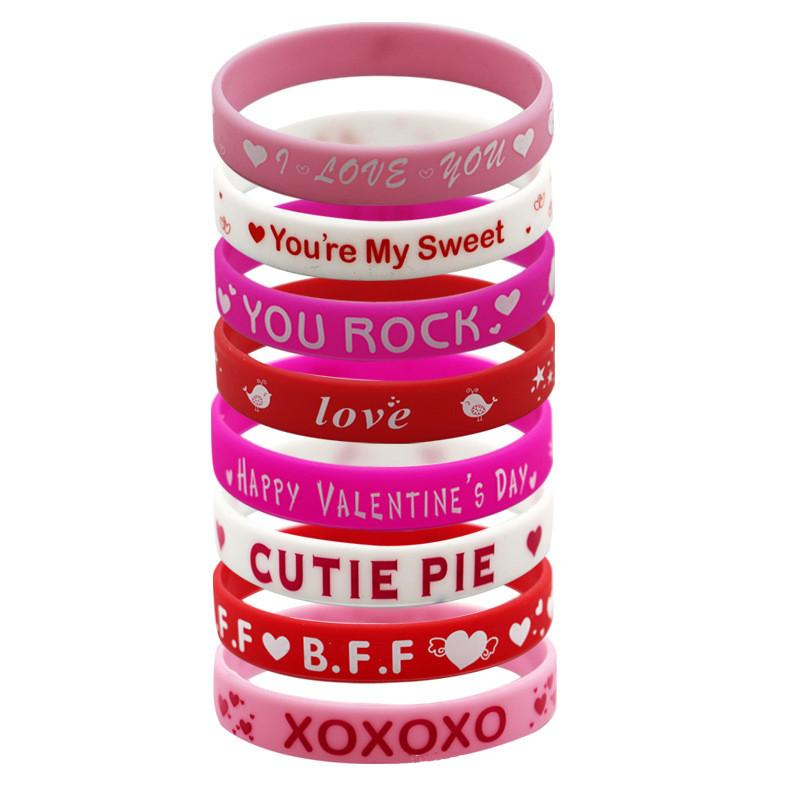 2019 2019 Happy Valentines Day Silicone Bracelet Lovers Wristband