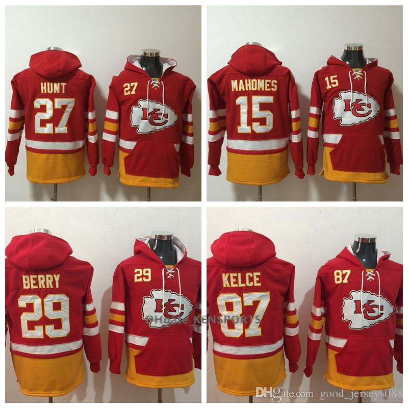 2019 Men Kansas City Chiefs Hoodie 27 Kareem Hunt 15 Mahomes 87 Travis  Kelce 29 Berry American Football Stitched Pullover Sweatshirt From Yengoh 8f8408e94