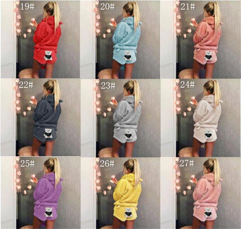 bf02fb1ddc Winter Women Pajamas Cute Cat Embroidery O-Neck Pyjamas Women Hooded  Sweater Shorts Velvet Hoodie Sleepwear Warm Homewear S-5xl Hot Women  Sleepwear Pajama ...