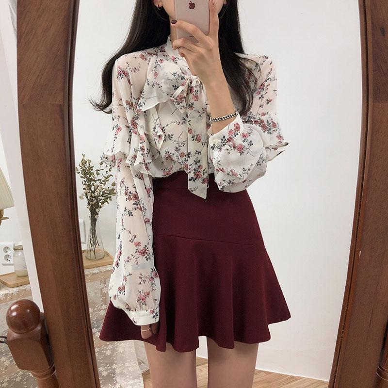 b5728ffcfb 2019 2019 Spring Basic Shirts Blouses Women Japan Preppy Styel Cute Sweet  Girls Black White Floral Printed Ruffled Bow Tie Top Shirt From Regine, ...