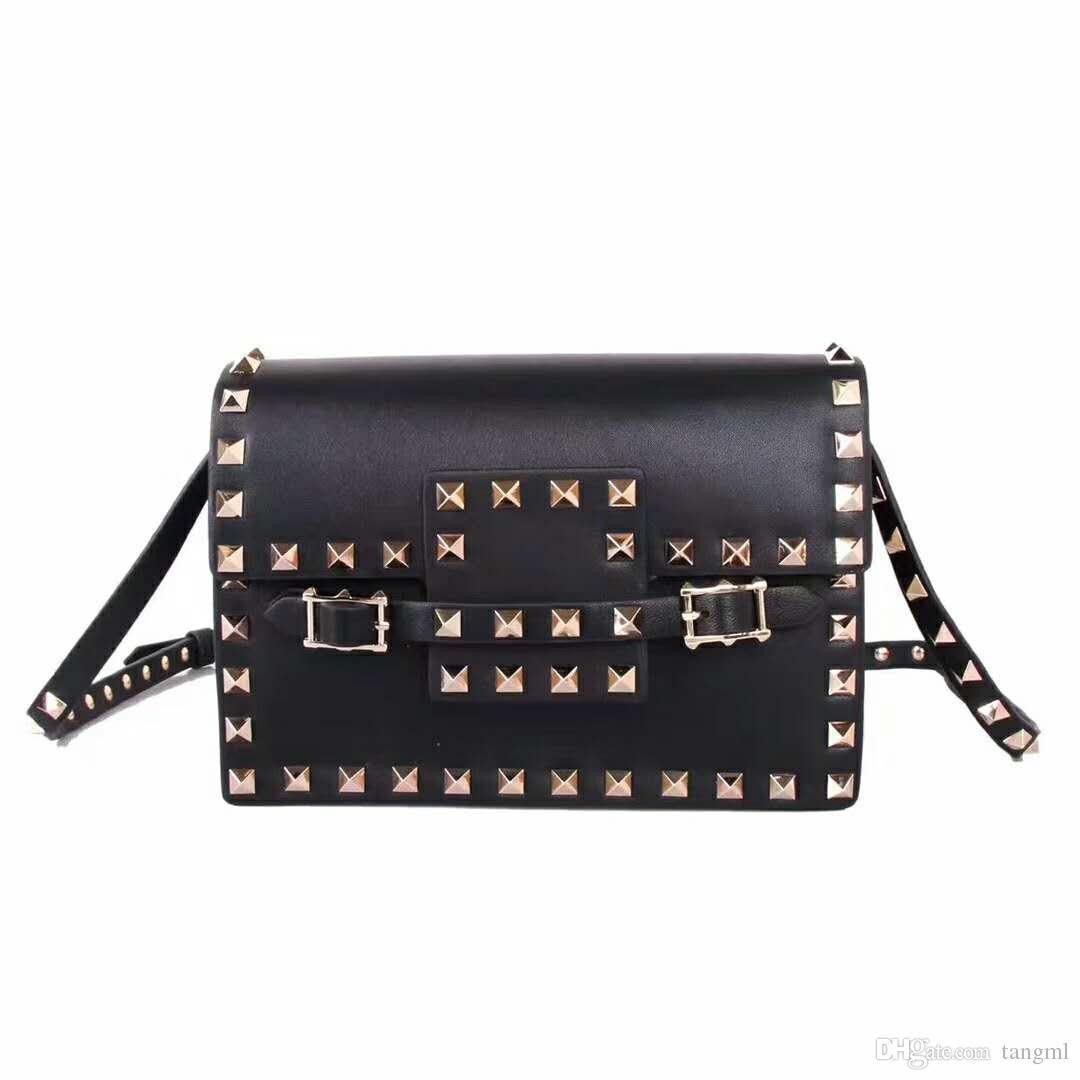 6b6c00aa7fe New genuine leather real high fashion handbag rose gold rivet cross body  pack sheep skin leather OL flap envelope women mini bag GFgift 19cm