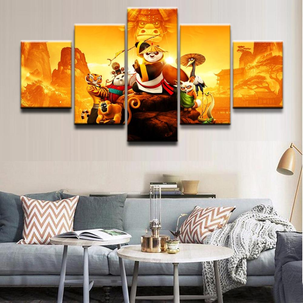 Movie Kung Fu Panda 3 Character,5 Pieces Canvas Prints Wall Art Oil  Painting Home Decor (Unframed/Framed)