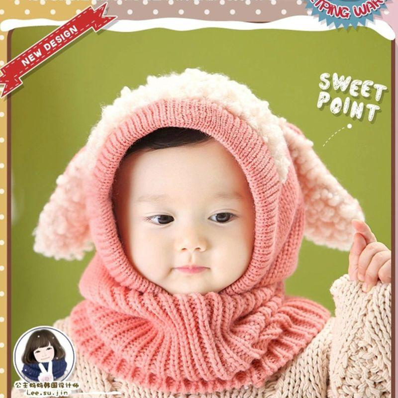 a191f487696 2019 Infant Toddler Baby Winter Crochet Knitted Hat Scarf Contrast Color  Plush Patchwork Hooded Earflap Cute Puppy Ears Beanie Cap From Longanguo