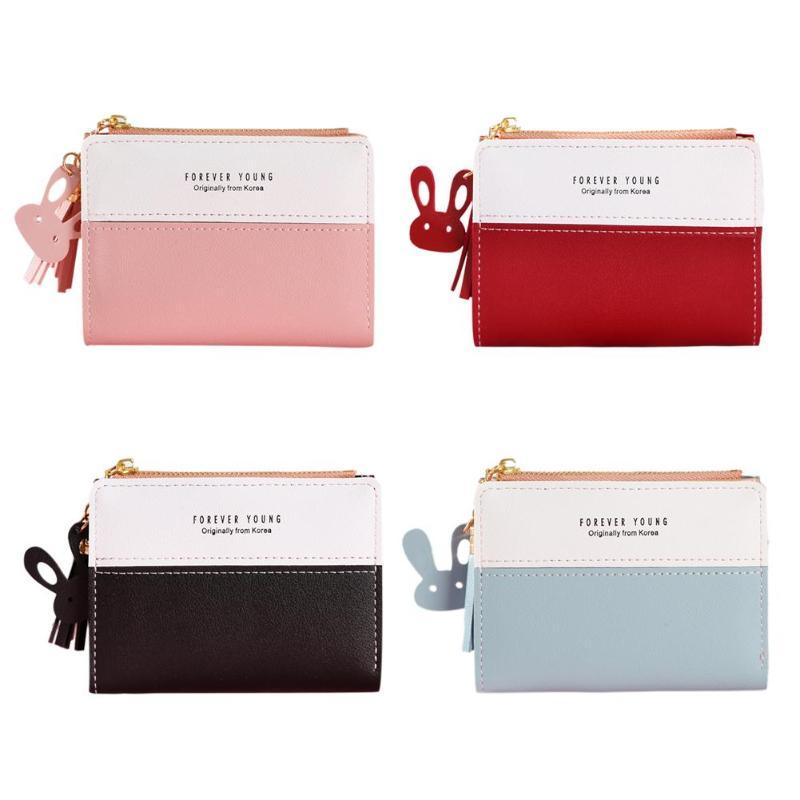 79f966b9ce6e Girls Bifold Hit Color Coin Purse Women Zipper Short Wallet Card Holder  Leather Ladies Security Information Aluminum Metal Purse