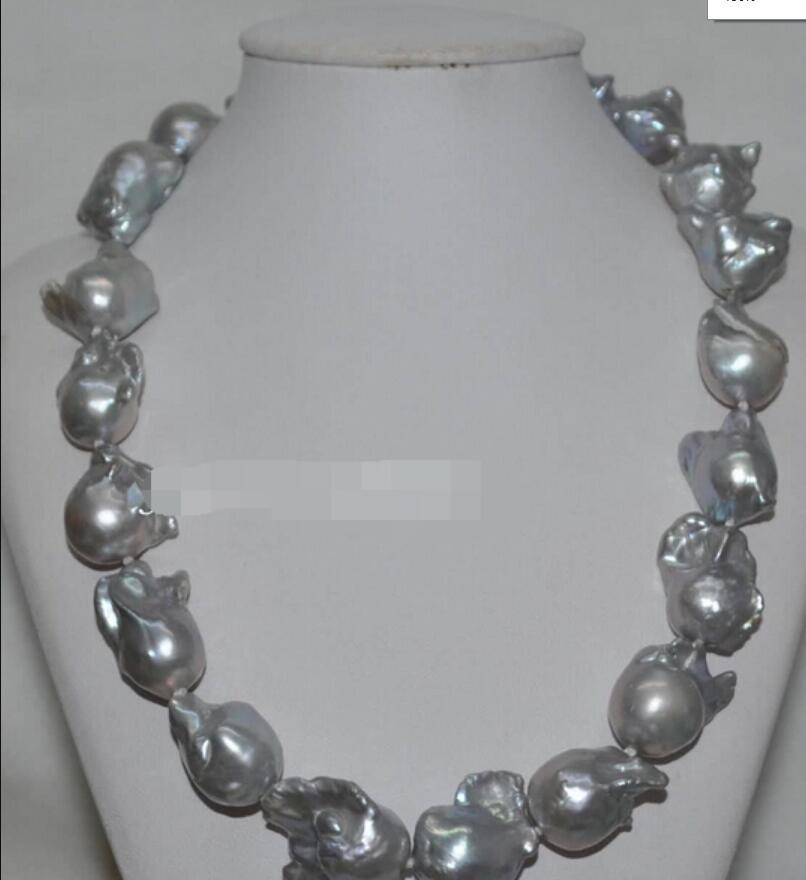 necklace Free shipping +++ Beautiful Gray 22*25mm Baroque nucleated Pearl Necklace J6290