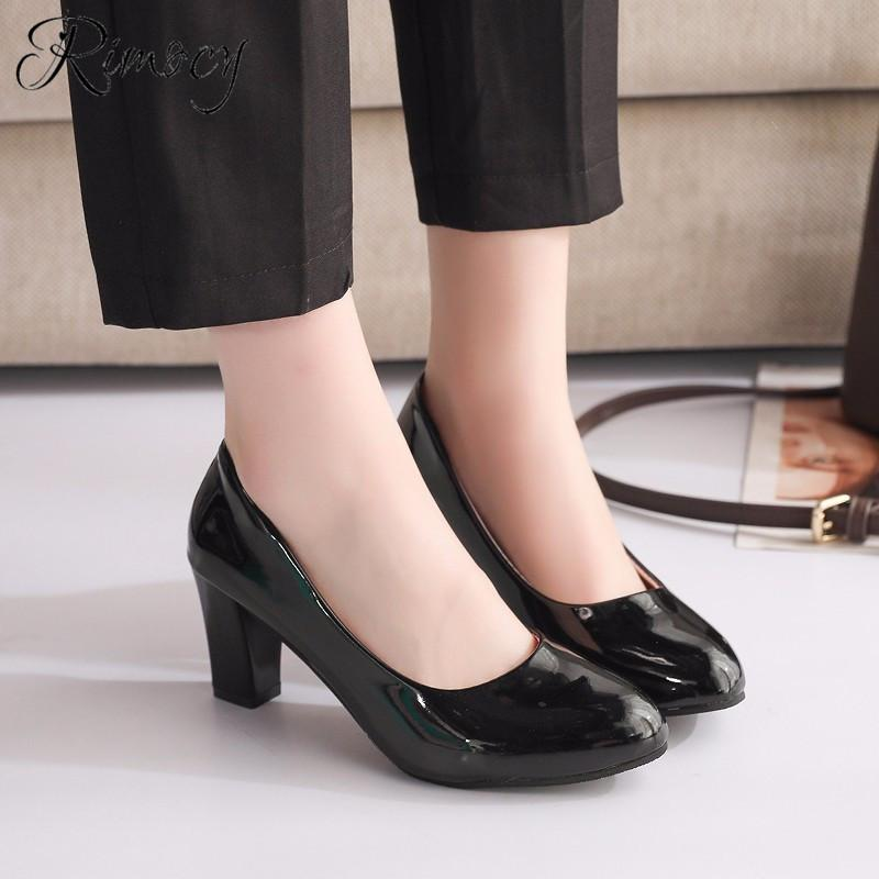 c433a4bbfe Dress Shoes Rimocy Fashion Round Toe Dress Woman 2019 Spring Classic Solid Black  Patent Leather Pumps Femme Slip On High Heels Fashion Shoes Cheap Shoes For  ...
