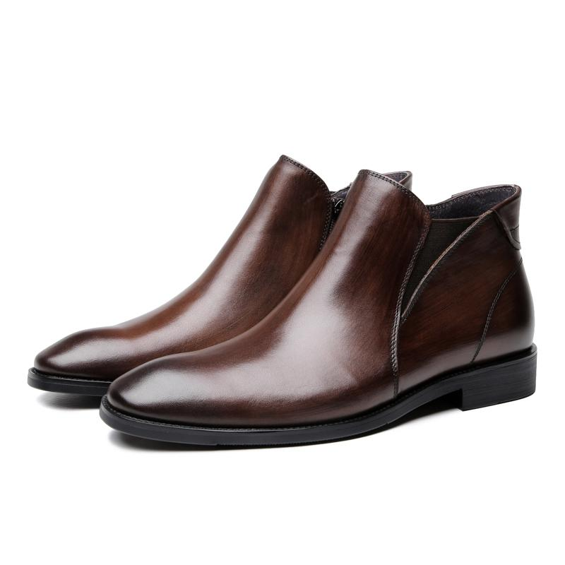 104dfe445e Compre Zapatos De Lujo Negro   Marrón Para Hombre Botines De Vestir Botas De  Vestir Zapatos De Cuero Genuino Hombre De Negocios A  129.34 Del Abcindy ...