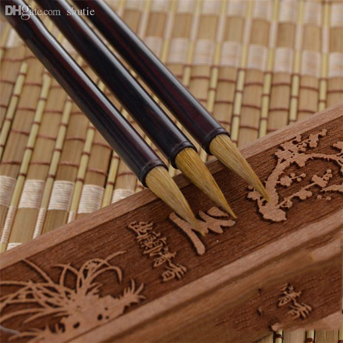 Wholesale-1piece Small Regular Ebony Wooden Handle Woolen & Weasel Hair Chinese Writing Brush and Calligraphy for Art Supplies