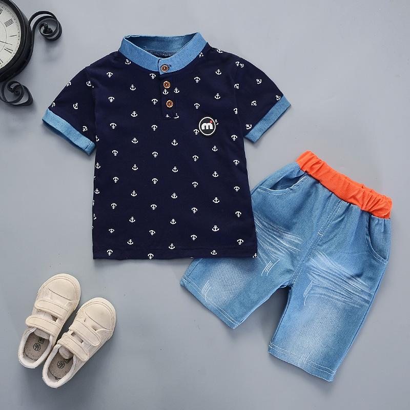 444bfd6bb 2019 Summer boys clothes sets Baby boy fashion print T-shirt + shorts 2  pieces baby cotton clothing set