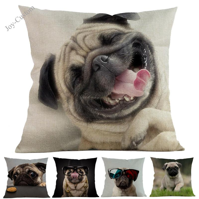 The New Cute Funny Animal Pet Pug Dog Pattern Throw Pillow Case Home Car Pet Store Sofa Chair Decoration Cushion Cover