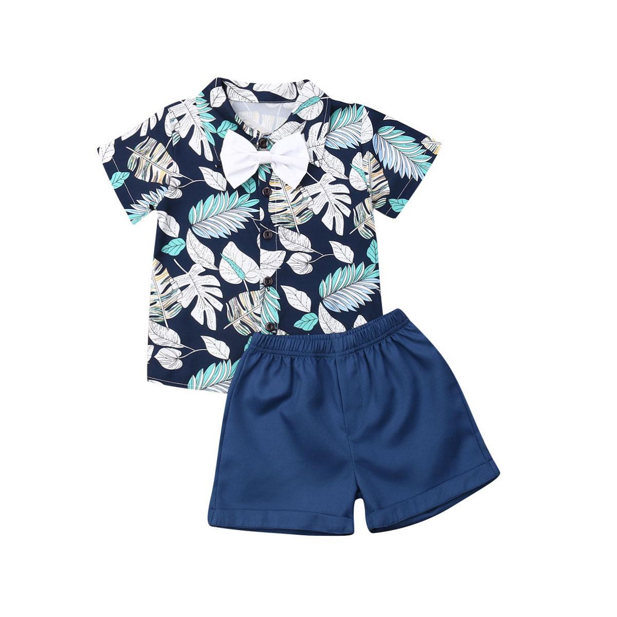 1-7Y del bambino bambino del capretto dei vestiti del ragazzo vestito Gentleman Bow Outfits Sets camicia casuale spiaggia foglie Fiore pantaloncini estivi Ragazzi Costumi