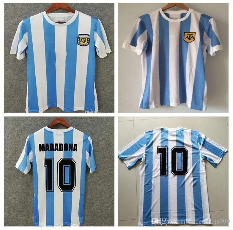 c0da08f923c 2019 1978 1986 Argentina Maradona Home Soccer Jersey Retro Version 86 78  Maradona Messi CANIGGIA Quality Football Shirt Batistuta In Stock From ...