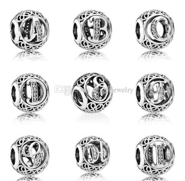 09b5347d8bfd Compre Colección De Letras A T Auténticas Cuentas De Plata Esterlina 925  Vintage Clear CZ Beads DIY Charm Fits Pandora Bracelets Beads Wholesale  2019 Nuevo ...