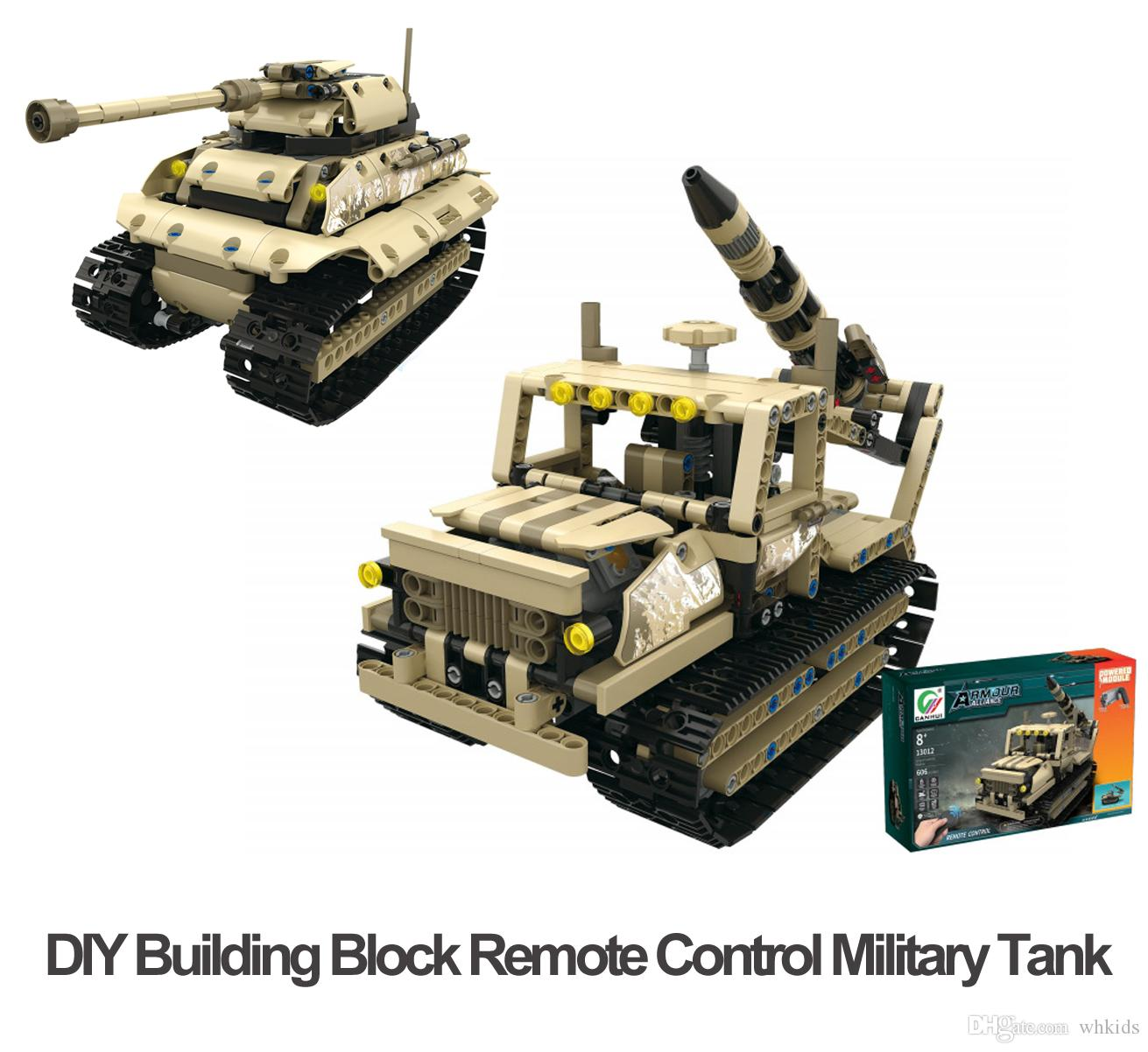 DIY Building Block Remote Control Tracked Vehicles 2 4G RC Military Tank  Four Channels USB Charge Cool Gifts for Kids