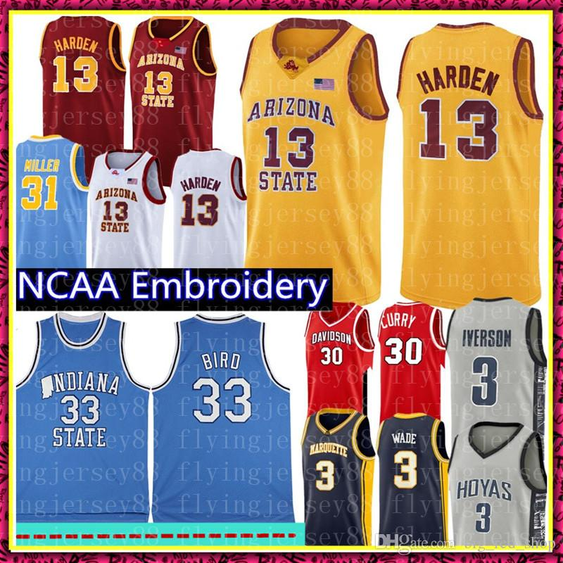 NCAA James Harden 13 Jersey de la universidad Larry Bird 33 del estado de Indiana Universidad jerseys del baloncesto Rojo Amarillo Blanco Azul