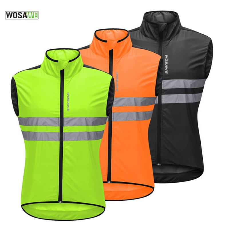 WOSAWE Cycling Vest High Visibility Reflective Safety Vest Waterproof Night Running Riding Motorcycle Jacket Waistcoat