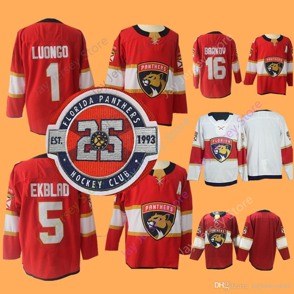 hot sale online 54ca9 605aa Florida Panthers Jersey 25th Patch 1 Roberto Luongo 5 Aaron Ekblad 16  Aleksander Barkov 2018 NEW Material Ice Hockey