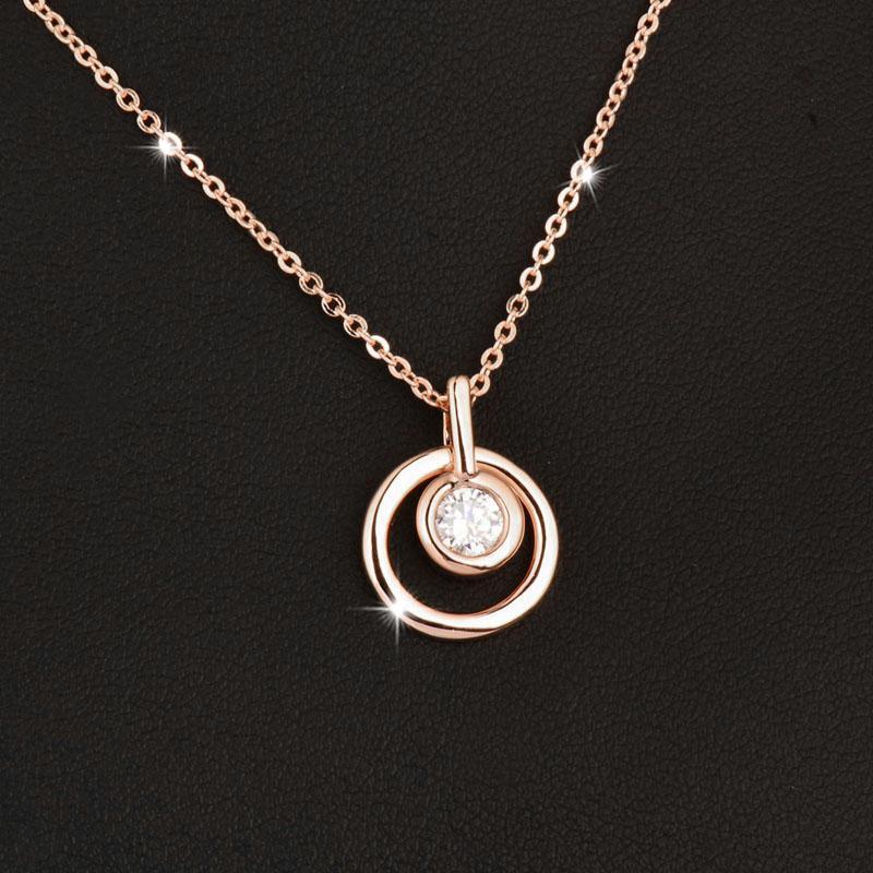 Círculo redondo clássico colar de pingente com Cubic Zirconia Rose Gold cor de cadeia curta para as Mulheres Jóias Xl689 SSD