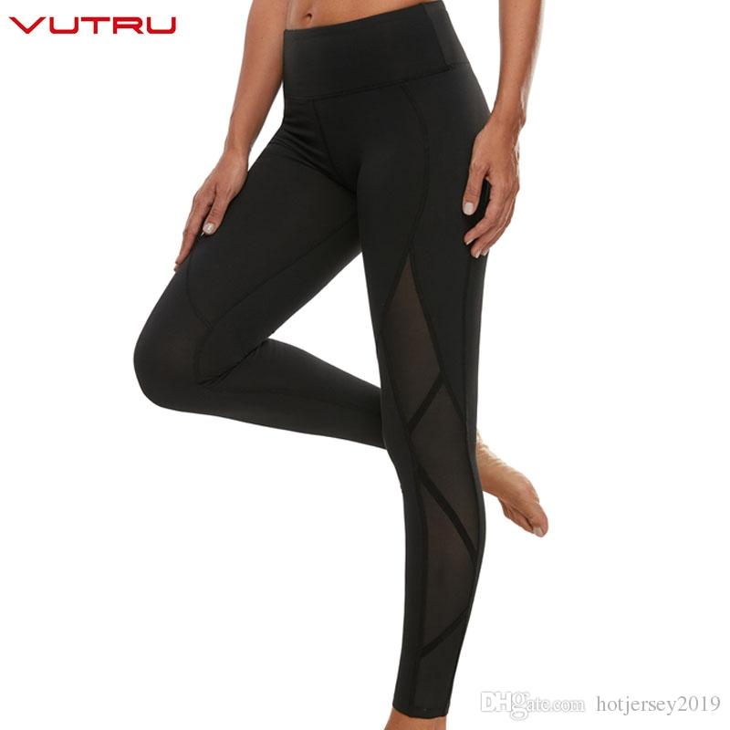 db76c9ab3 Vutru Sport Leggings Femmes Taille Haute Gym Pantalon De Yoga Maille  Compression Collants Fitness Course D entraînement Mince Sportswear Noir  Blanc # ...